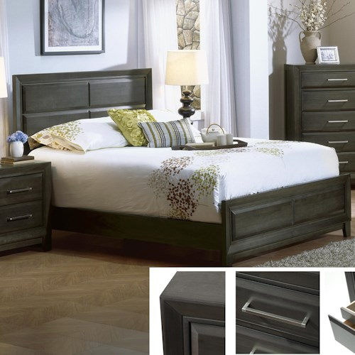 Defehr Verona  King Contemporary Panel Bed in Graphite Finish