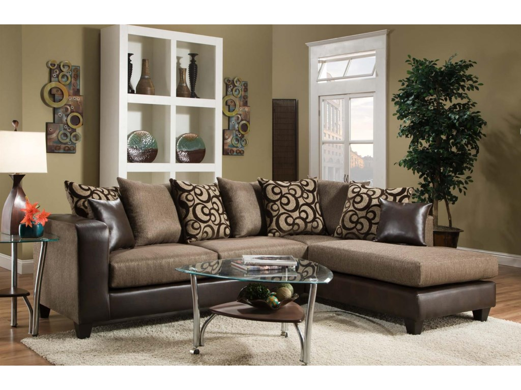 4124 Contemporary Sectional Sofa with Chaise End and Loose Pillow Back by  Delta Furniture Manufacturing at Dream Home Furniture