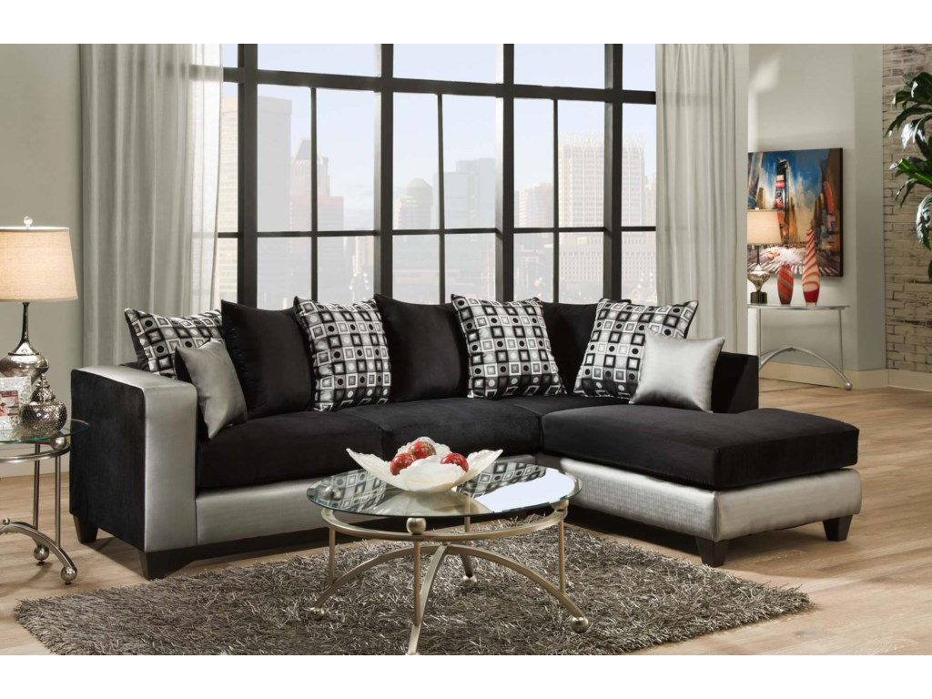 Delta Furniture Manufacturing 4124 Contemporary Sectional Sofa with ...
