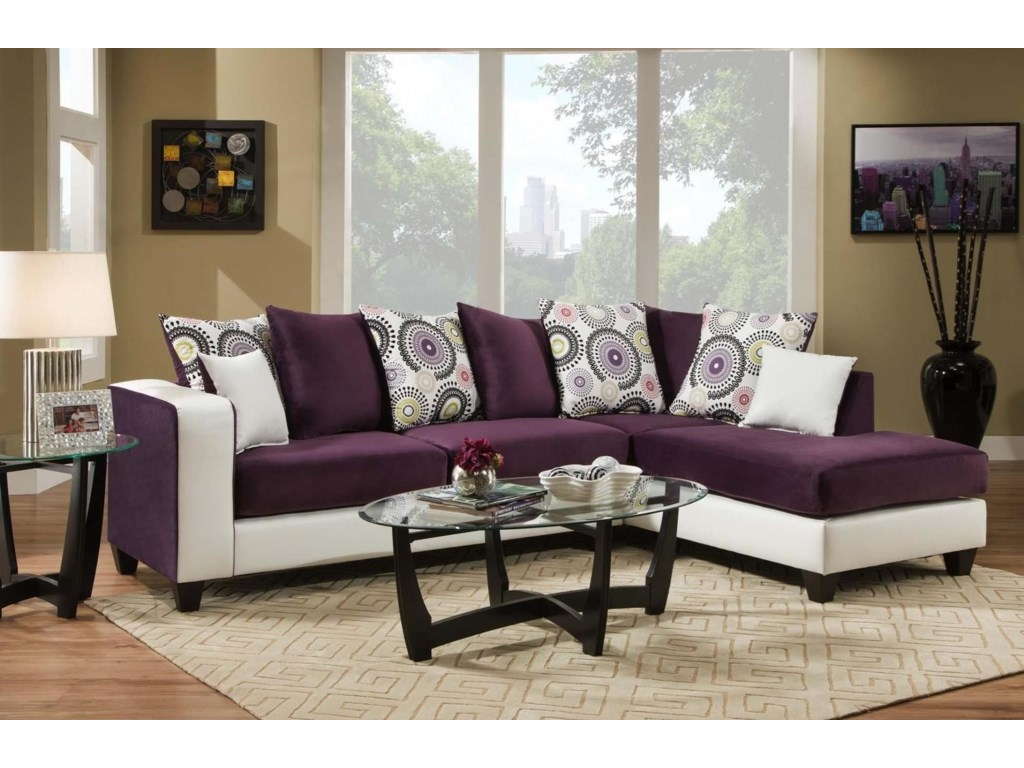 4124 Contemporary Sectional Sofa with Chaise End and Loose Pillow Back by  Delta Furniture Manufacturing at Dream Home Interiors