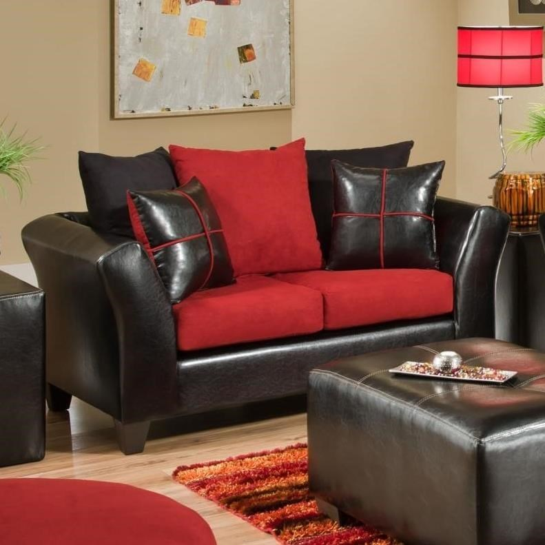 Contemporary Love Seat with Loose Pillow Back