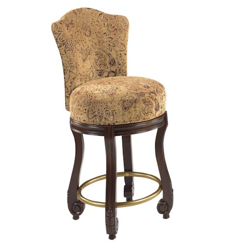 Designmaster Dining Stools Calais Carved Swivel Dining Counter Height Stool
