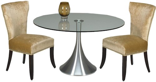 Designmaster Tables Del Mar Table with Spun Aluminum w/54 Inch Round Clear Glass Top