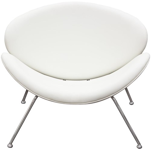 Diamond Sofa Accent Chairs Roxy Chair With Chrome Frame And Flared Scoop Seat Back