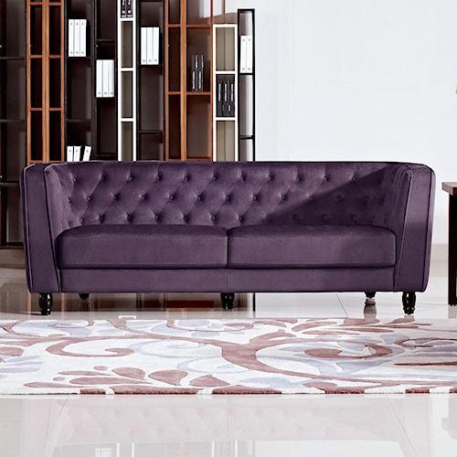 Diamond Sofa Bellini Button Tuft Fabric Sofa in Plush Purple