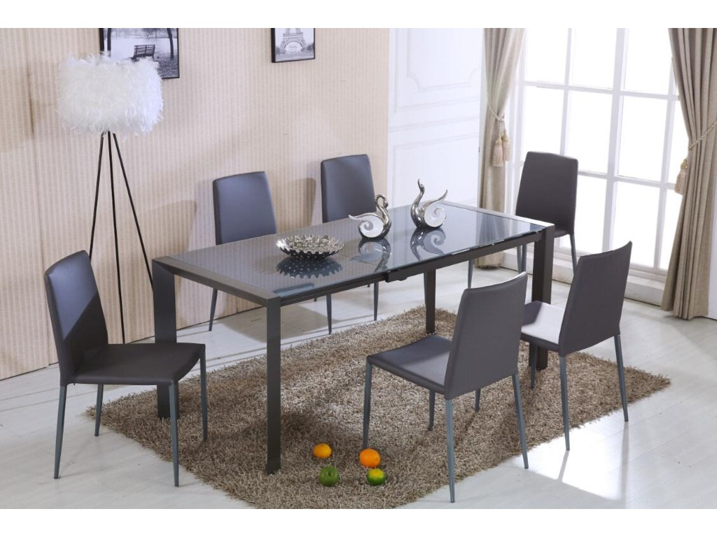 Diamond Sofa Carbon6 Piece Dining Set