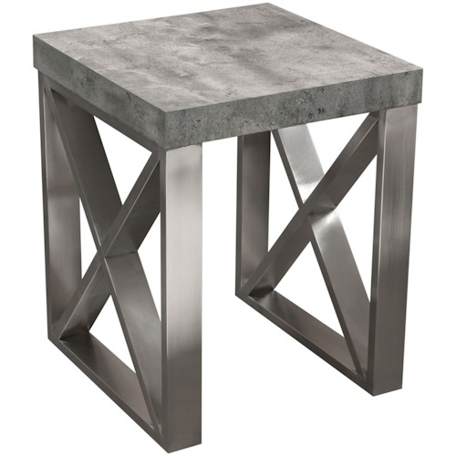 Diamond Sofa Carrera Tables End Table In Faux Concrete Top With Brushed Stainless Steel Legs Boulevard Home Furnishings