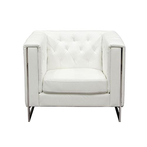 Diamond Sofa Chelsea Leatherette Chair with Metal Leg