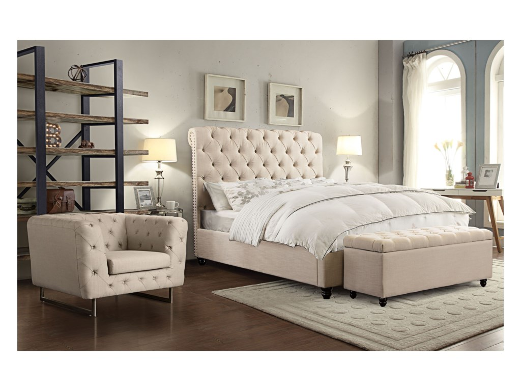 Diamond Sofa ChesterfieldCal King Bed