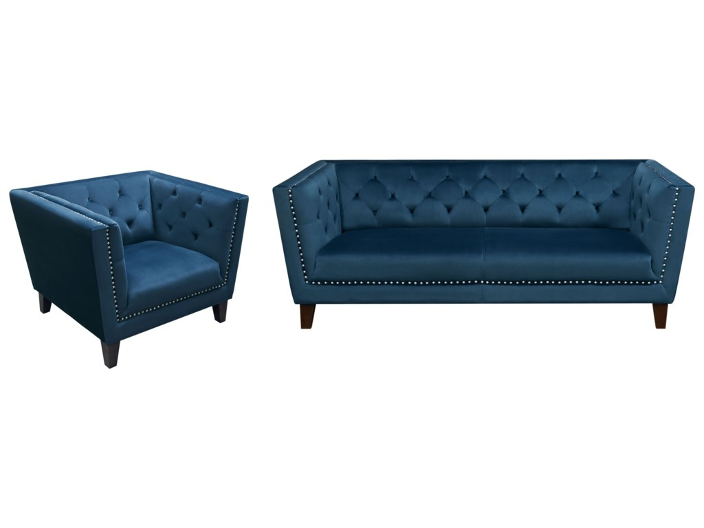 Diamond Sofa Grand Sofa And Chair Set With Tufted Backs And Nailhead Trim   Del Sol Furniture  Stationary Living Room Groups
