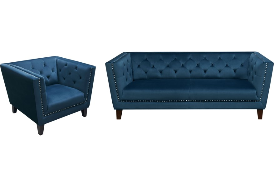 Sofa And Chair Set With Tufted