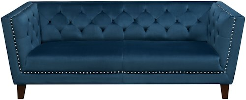 Diamond Sofa Grand Tufted Back Sofa with Nail Head Accent