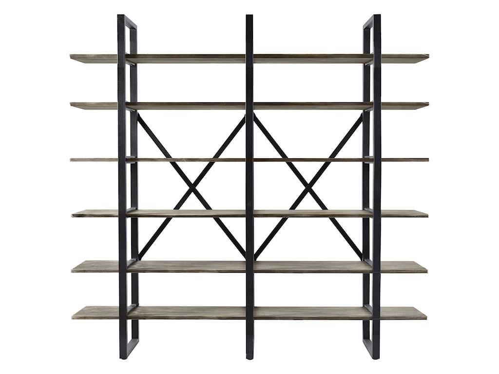 Diamond sofa highline 6 shelf bookcase with solid pine shelves