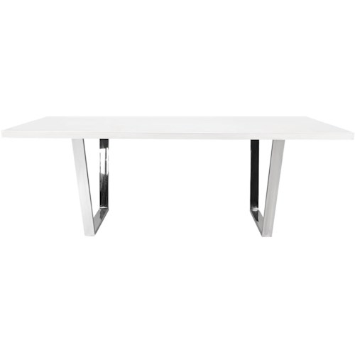 Diamond Sofa Mirage Rectangular Dining Table With Chrome Base