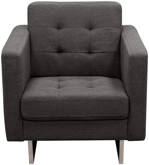 Diamond Sofa Opus Grey Tufted Polyester Fabric Chair