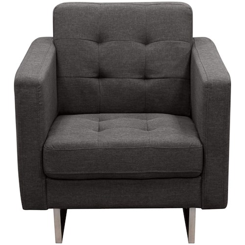 Diamond Sofa Opus Grey Tufted Polyester Fabric Chair