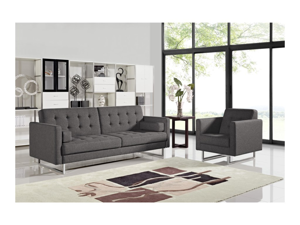 Opus Convertible Grey Tufted Polyester Fabric Sofa with Chair 2-Piece Set  by Del Sol DS at Del Sol Furniture