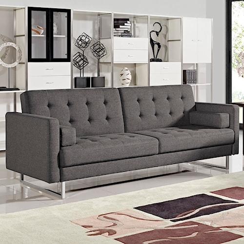 Diamond Sofa Opus Convertible Grey Tufted Polyester Fabric Sofa