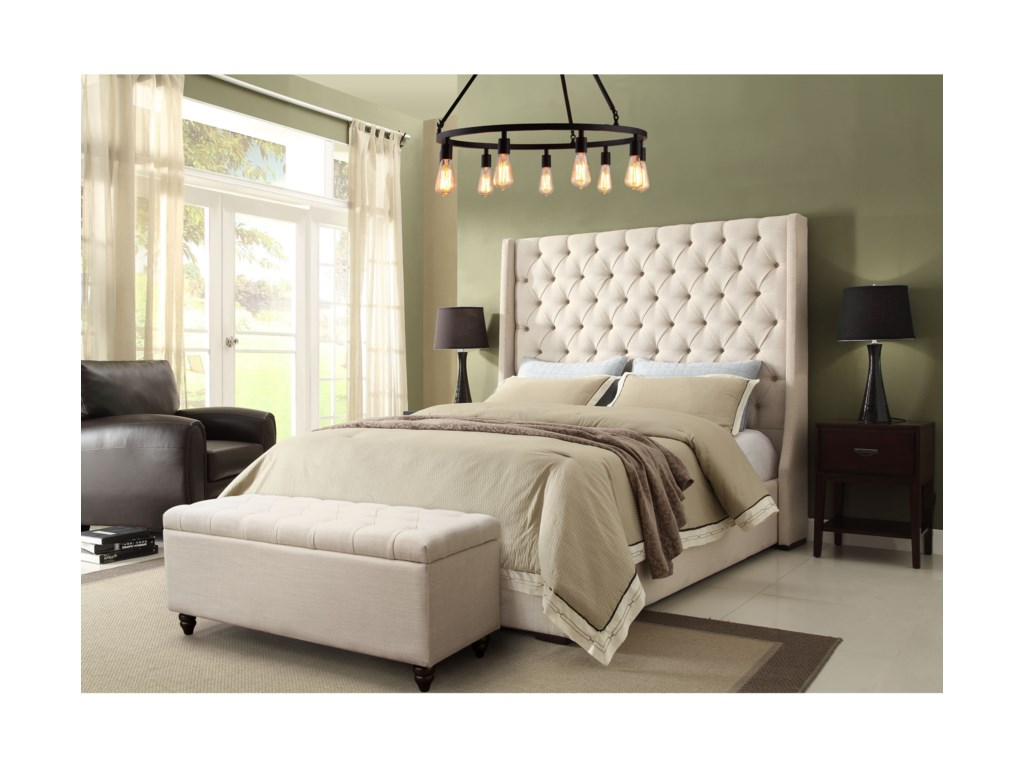 Diamond Sofa Park AveEastern King Tufted Bed with Vintage Wing