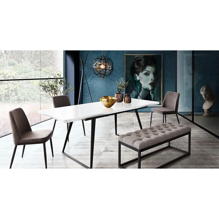 diamond sofa tempo extension dining table with black powder coated rh dhifurniture com Ashley Furniture Dining Table Rectangle Glass Dining Table