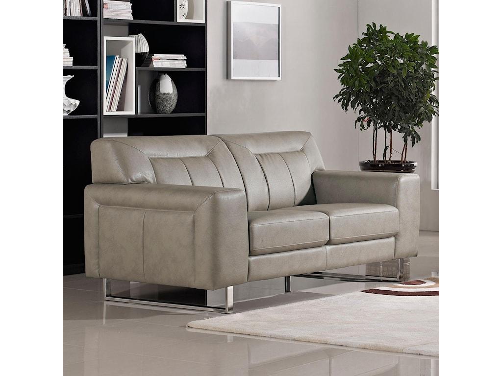 Diamond Sofa VeraLeatherette Loveseat with Chrome Metal Leg