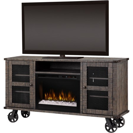 Fireplace Media Console with Locking Wheels