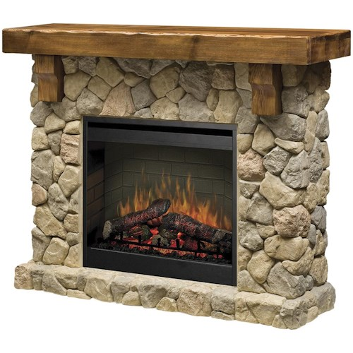 Dimplex Flat-Wall Fireplaces Rustic Fieldstone Flat-Wall Fireplace