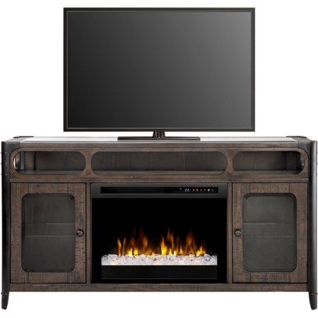Glass Top Media Console Fireplace