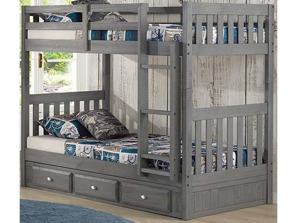 Discovery World Furniture CharcoalTwin/Twin Bunk Bed