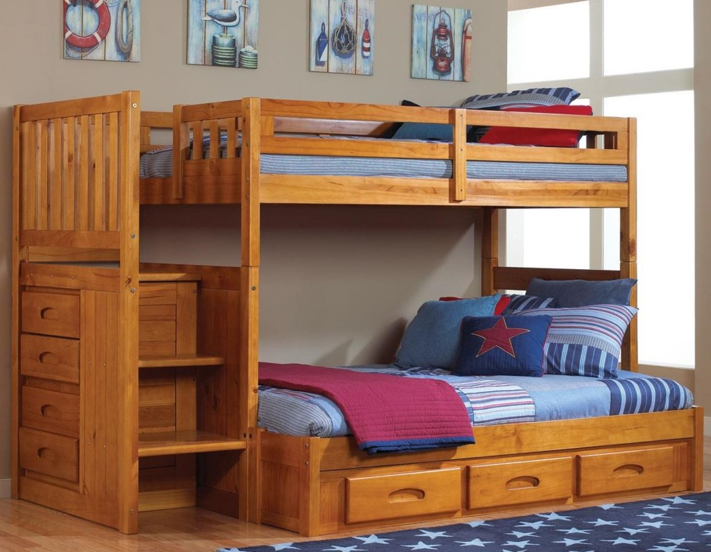 Discovery World Furniture Honey Staircase Twin Over Full Bunk Bed