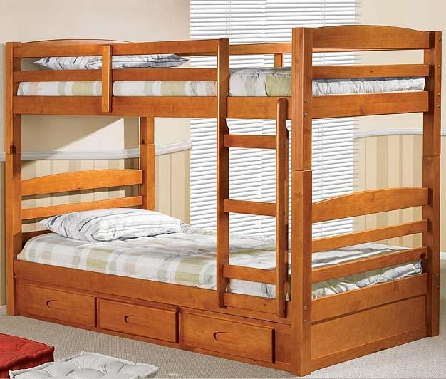 Discovery World Furniture Honey Mission Youth Twin Over Twin Bunk