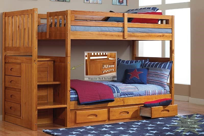 Discovery World Furniture Honey Mission Youth Twin Stair Stepper Bunk Bed  With Rake Slat Detailing