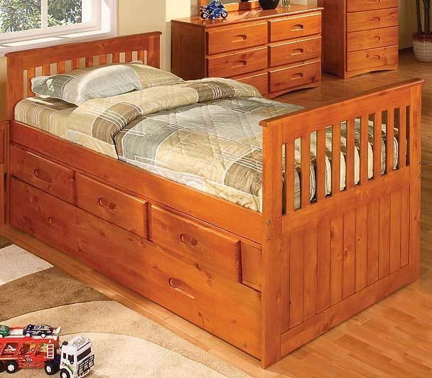 Discovery World Furniture Honey Twin Captainu0027s Bed