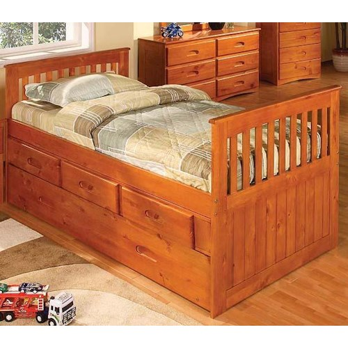 Discovery World Furniture Honey  Mission Youth Twin Captain's Bed with Rake Headboard and Footboard