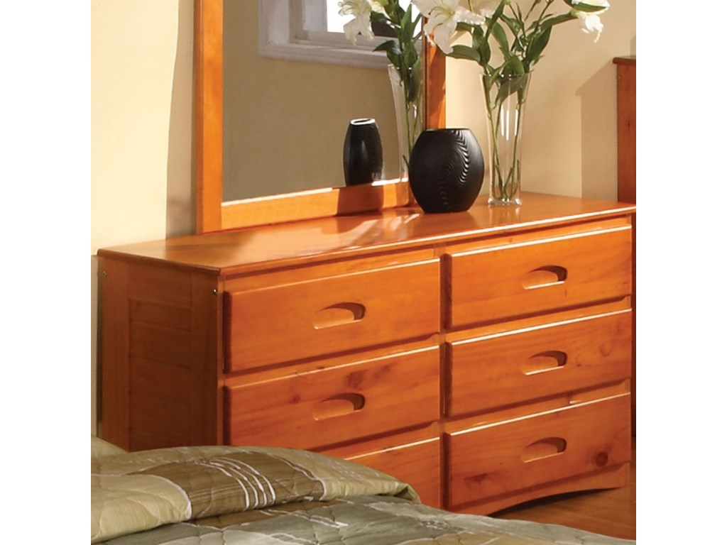 Discovery world furniture honey 6 drawer dresser