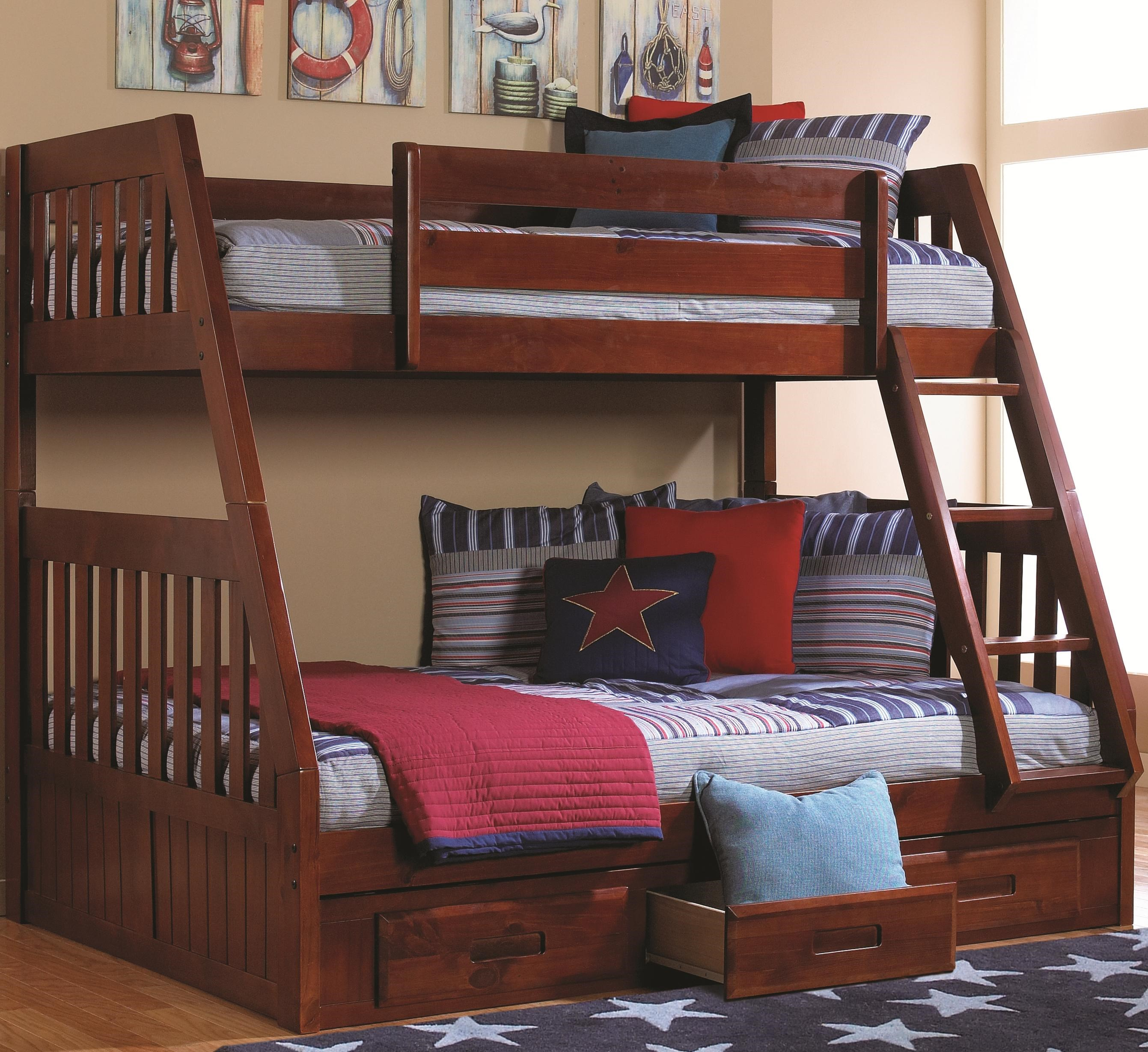 Bon Discovery World Furniture Merlot Twin Over Full Bunk Bed With Mounted Ladder