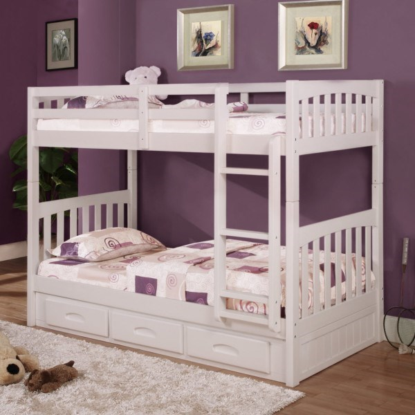 Discovery World Furniture White Mission Youth Twin Over Twin Bunk