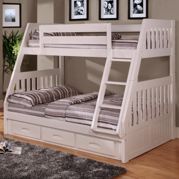 Discovery World Furniture White Mission Youth Twin Over Full Bunk