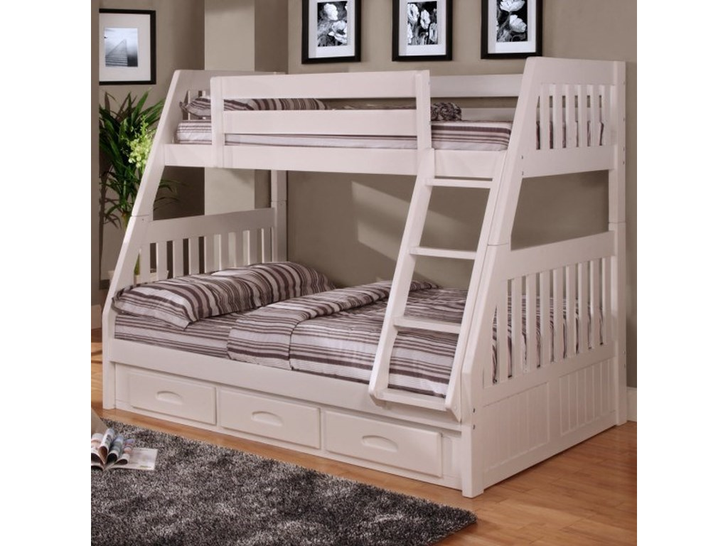 Discovery World Furniture WhiteTwin Over Full Bunk Bed