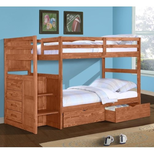 Donco Trading Co 1012 Casual Twin Over Twin Bunk Bed with Stairs and Storage Drawers