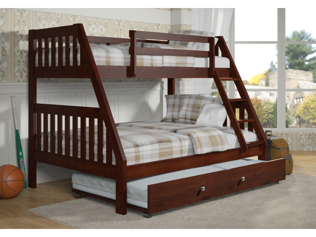 Donco Trading Co 1018Twin over Full Bunk Bed with Trundle