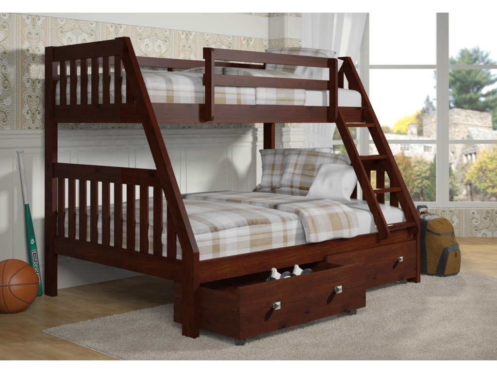 Donco Trading Co 1018Twin over Full Bunk Bed with Storage