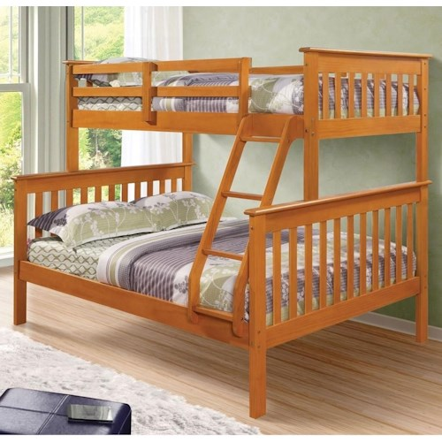 Donco Trading Co 122 Twin over Full Mission Bunk Bed