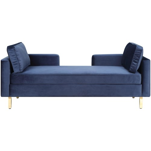 Donny Osmond Home Accent Seating Modern Double Chaise with Navy Fabric