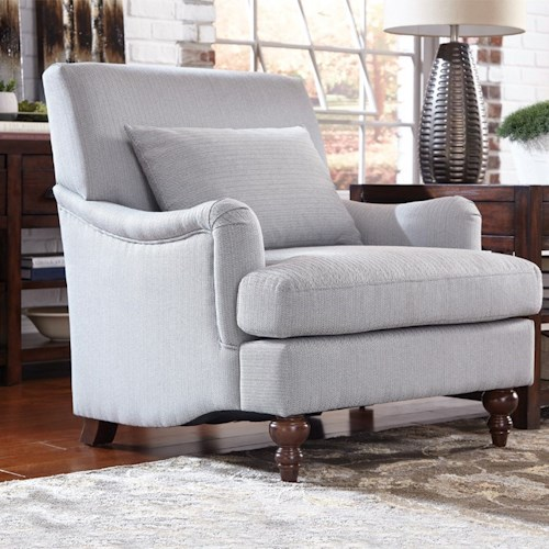 Donny Osmond Home Accent Seating Upholstered Chair with Exposed Turned Legs and Attached Back