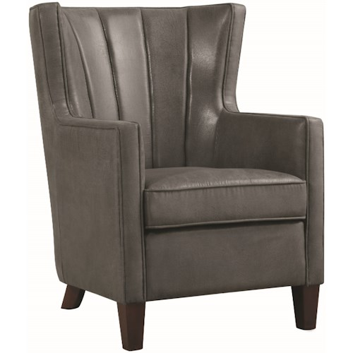 Donny Osmond Home Accent Seating Dark Grey Wing Back Accent Chair