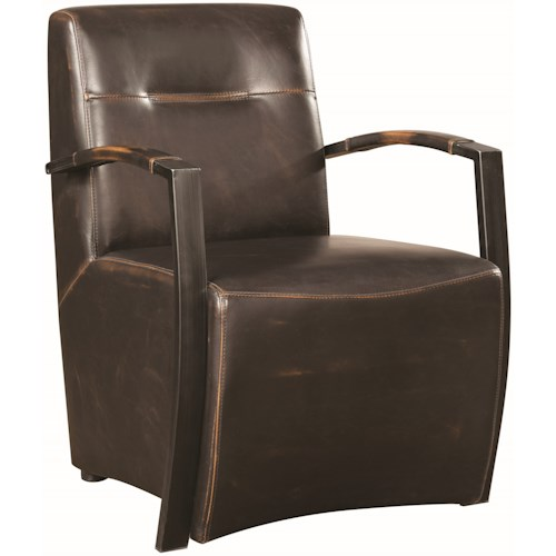 Donny Osmond Home Accent Seating Industrial Accent Chair with Metal Arms