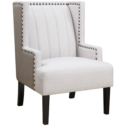 Donny Osmond Home Accent Seating Two Toned Wing Accent Chair with Nailhead Trim