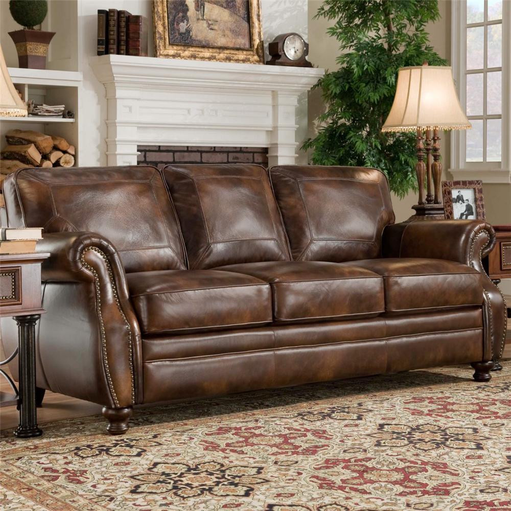 Du0027Oro Sagle Classic Saddle Traditional Leather Sofa With Nail Head Trim