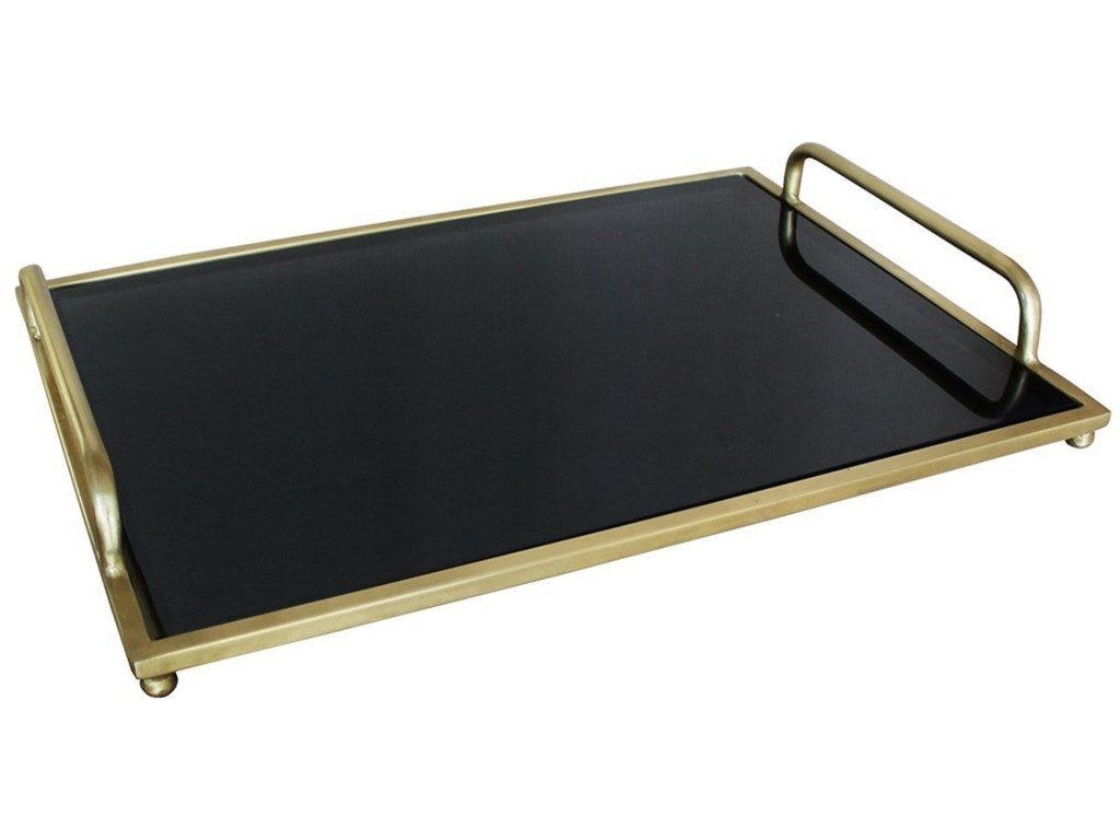 Dovetail Furniture AccessoriesBlack Glass Tray